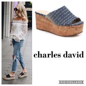 """Charles David """"Crisp"""" Denim Wedges"""